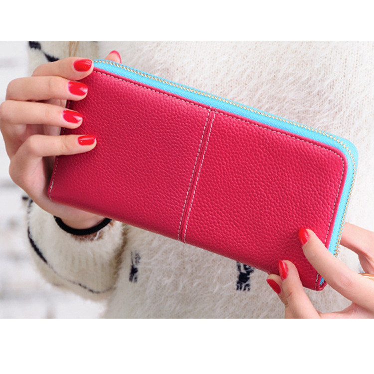 The new candy colored leather purse Qian Baonv leather leather wallet manufacturers custom-made(China (Mainland))