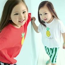 Baby Boys Girls Kids Pinapple Pattern Crew Neck Short Sleeve T-shirt 2-7 Y