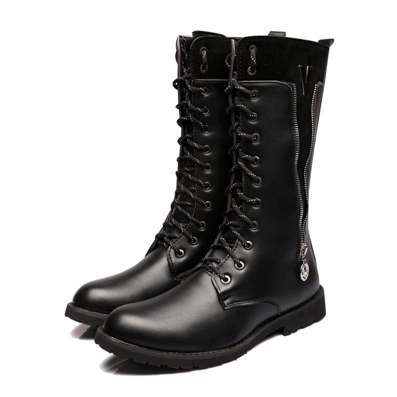 Free Shipping 2015 style fashion men's boots Lace-Up Martin boots Pointed Toe handsome Mid Calf Riding boots for men(China (Mainland))
