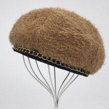 Для женщин Однотонные вязать берет Hat дамы французский художник Шапки Весна Повседневное осень-зима тонкий акрил береты для Для женщин Beanie(China)