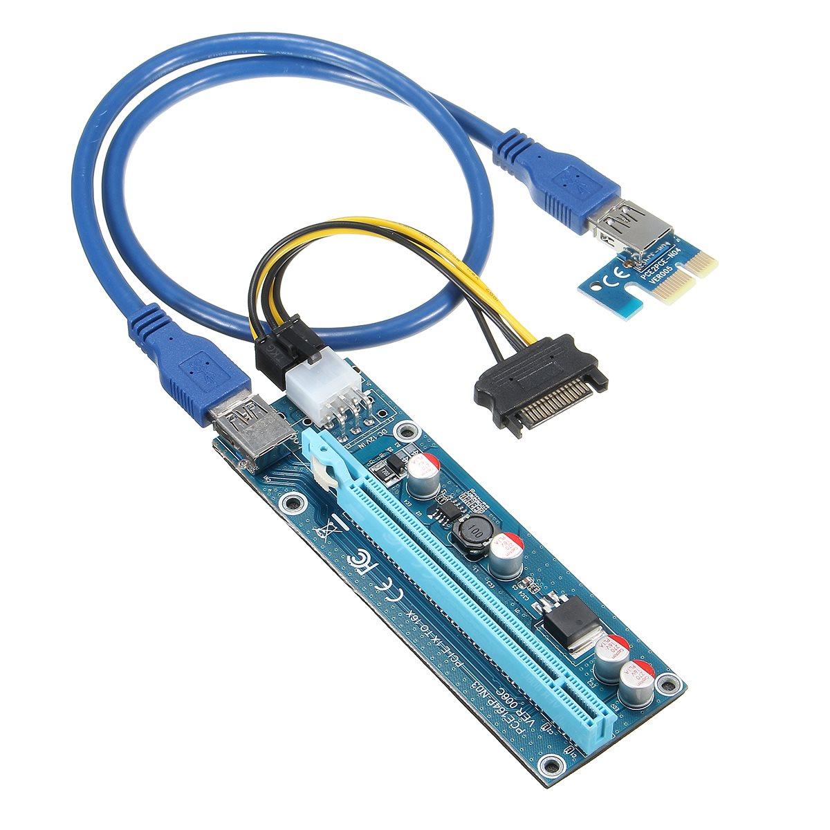 Wholesale 6pcs USB 3.0 PCI-E Express 1X 4x 8x 16x Extender Riser Adapter Card SATA 15pin Male to 6pin Power Cable(China (Mainland))