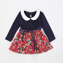 Baby girls spring floral dress toddle baby girls princess dresses baby cotton lovely dress with belt girls clothing 4-18 Mo(China (Mainland))