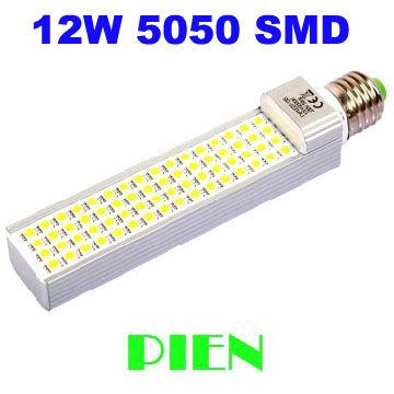 New 2014 12W led lamp bombillas E27 G24 home bulb lamps 60 led high power warm|cold white Free Shipping 2pcs