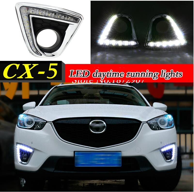 Dimming style Relay 12V OSRAM led car drl daytime running lights with fog lamp hole for Mazda cx-5 cx5 cx 5 2012 2013 2014(China (Mainland))