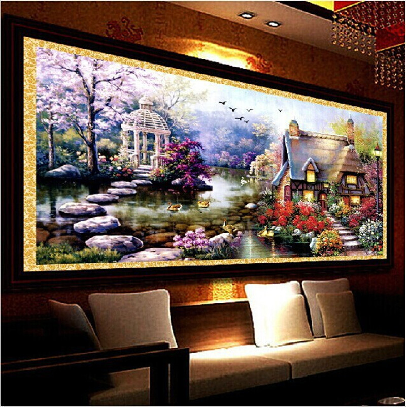 YGS-32 DIY 5D Diamond Mosaic Landscapes Garden lodge Full Diamond Painting Cross Stitch Kits Diamonds Embroidery Home Decoration(China (Mainland))