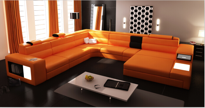 U shape Sectional leather sofa with LED light for living room furniture(China (Mainland))
