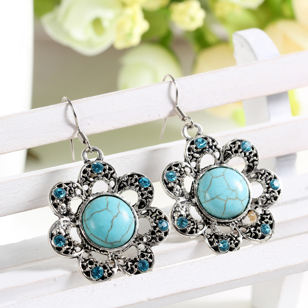 hot selling earrings Charming flower tibetan silver earring with turquoise and crystal jewelry vintage earrings for women hot(China (Mainland))