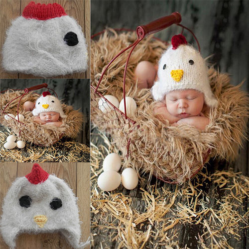 Free Shipping Newborn Baby Boys Girls Hats Chicken Crochet Knit Costume Photo Photography Prop Clothes Cap Baby Style Cap(China (Mainland))