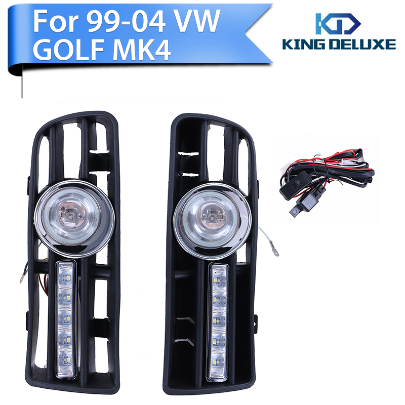 2015 1set White Fog LED Grille Lights For VW Golf MK4 1999-2004 +Switch +Wiring Harness Car Bumper Lamp KING DELUXE P75<br><br>Aliexpress