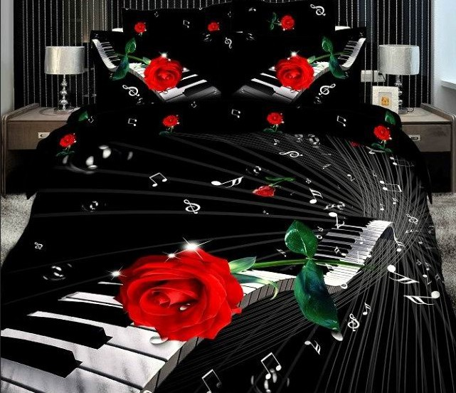 3d Red Rose Piano Musical Notes Black Bedding Set Queen King Size Bedroom Sets Duvet Cover Bed Sheets Bedclothes Home Textiles(China (Mainland))