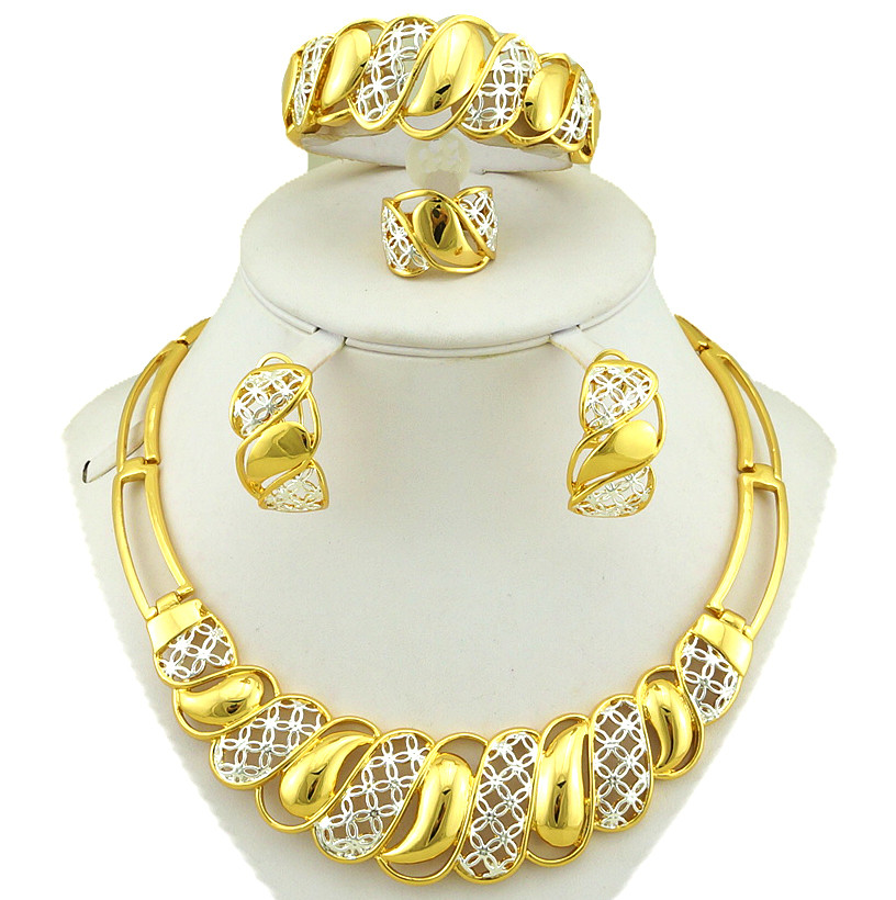 real gold plating jewelry sets african jewelry sets costume sets big necklace gold plated jewelry set(China (Mainland))