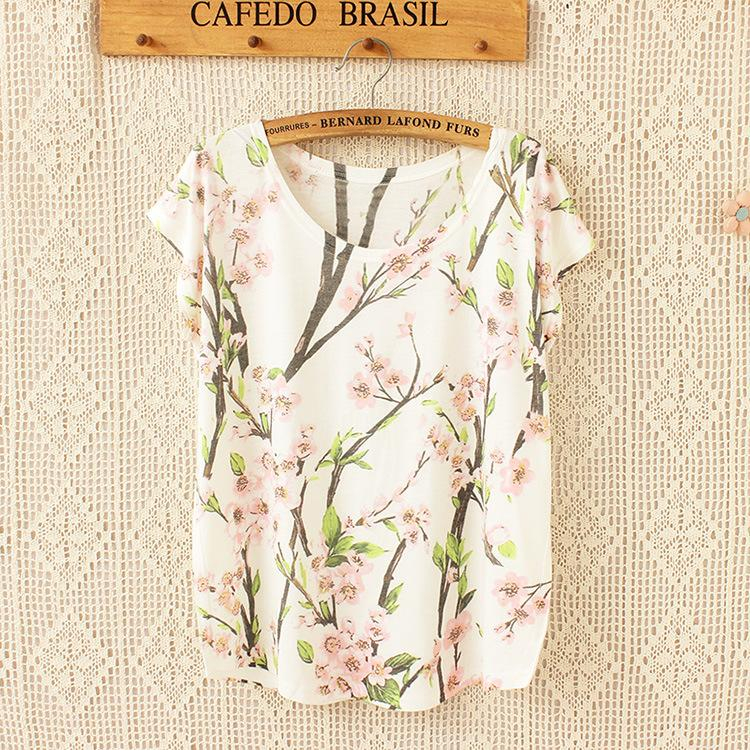 H&Unique-summer Peach blossom print t shirt high quality Bat sleeve casual fashion 3d t-shirt tops tees women ladies hot sale(China (Mainland))