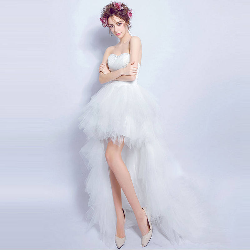 2016 new design summer Sexy beaded strapless off shoulder wedding dress short front long back lace up bridal dress,611,ty1434(China (Mainland))