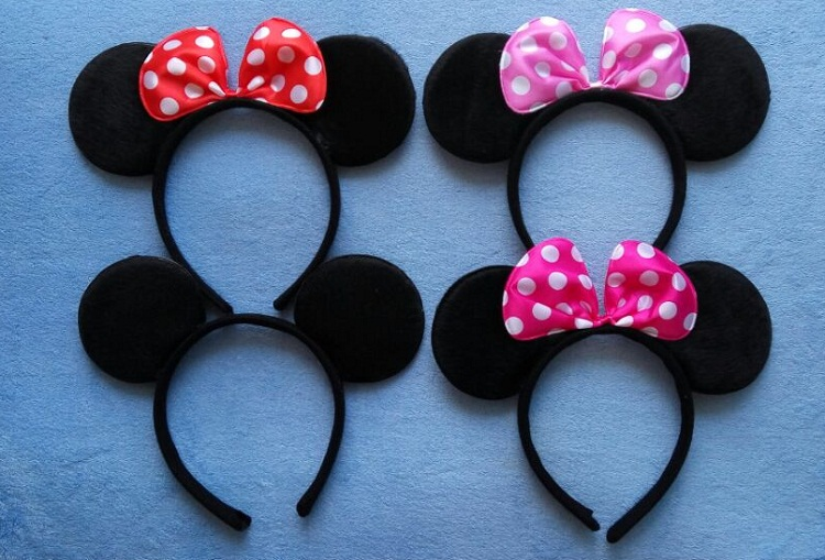 Adult Minnie Mickey Mouse Ears Headband Birthday Party Decoration Kid Minnie Mickey Mouse Party Supplies Bow Hair Accessories(China (Mainland))