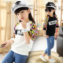 Kids 2016 autumn female big girl shirt sweater g68 leopard long sleeve clothes 5-8-13 age kids clothes children letter sweater(China (Mainland))