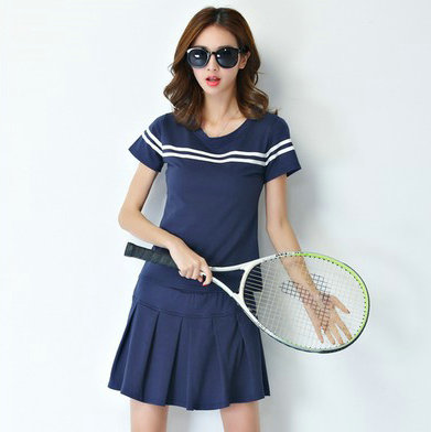Dark blue tennis sets Cool girl shirt Summer leisure short skirt clothing Women sport wear garment(China (Mainland))