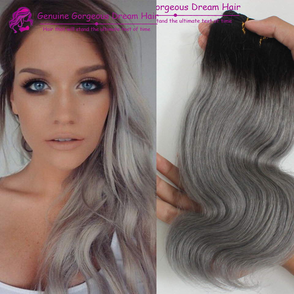 3 Pcs/Lot Best Quality 7A Ombre Hair Extensions Peruvian Virgin Hair Body Wave Two Tone Color #1b/Grey Ombre Human Hair Weaves<br><br>Aliexpress