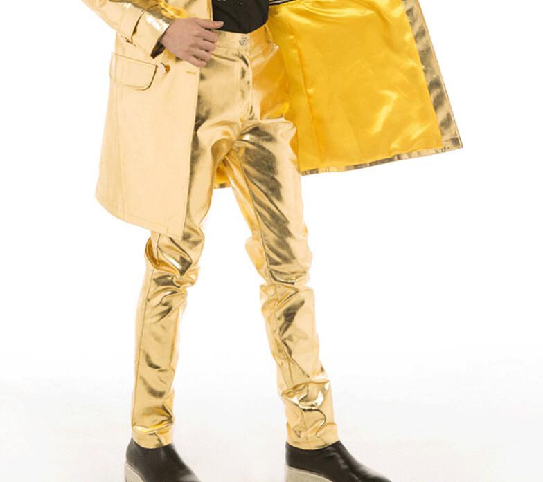 2015 new fashion men nightclub bar singer performing atmospheric costume star style gold PU leather pants stage catwalk trousersÎäåæäà è àêñåññóàðû<br><br>