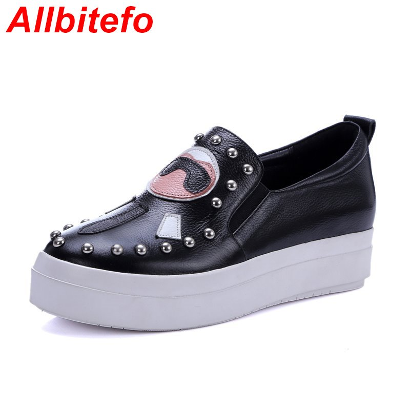 Classics fashion Slip-On Patchwork full genuine leather round toe flat heel women flats rivets platform High quality Loafers<br><br>Aliexpress