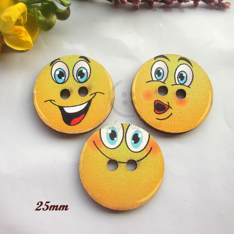 144pcs 25mm Mixed Yellow Smile Pattern Wood Scrapbooking Buttons Sewing Craft Decorative Accessories, Round 2 Holes, 2015 NEW(China (Mainland))
