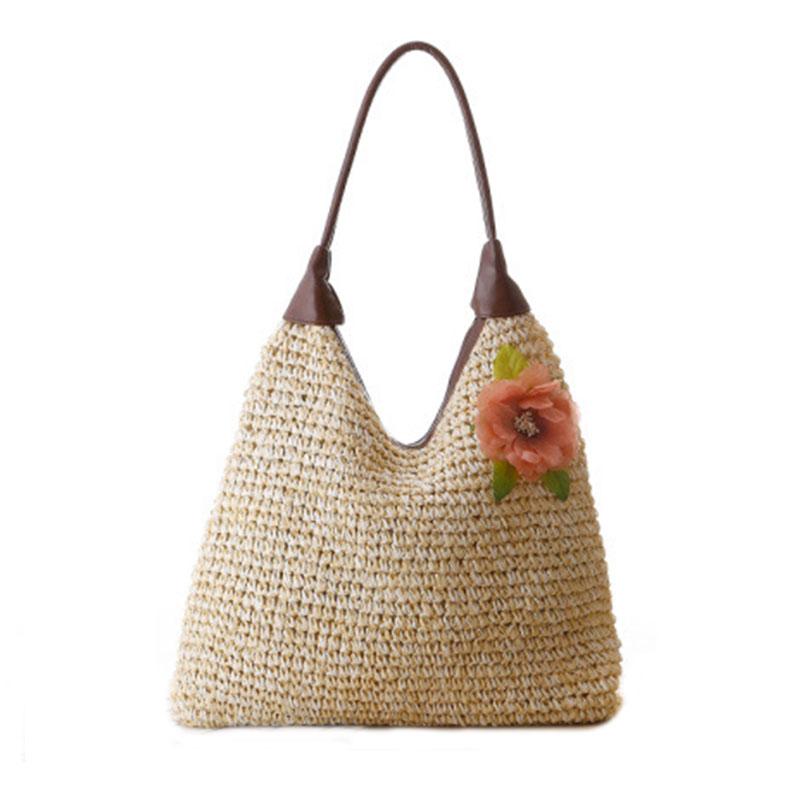 New 2016 Women Handbag Beach Shoulder Bags Rural flowers Bags Straw Colorful Shoulder Bags Manual String Bags PU Straw Totes Big(China (Mainland))