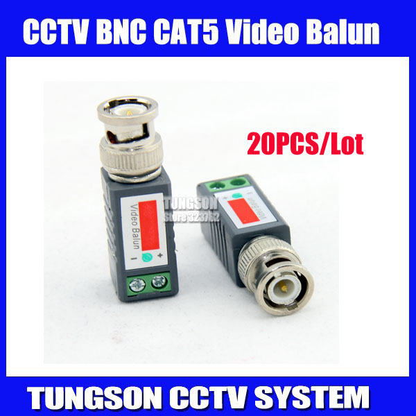 20pcs CCTV Twisted BNC Passive Video Balun Transceiver Coax CAT5 Camera UTP Cable Coaxial Adapter for Camera DVR Free Shipping(China (Mainland))