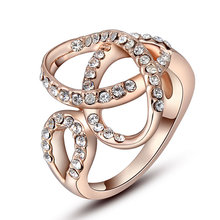 Free Shipping Fashion New Brand Design Luxurio austrian crystal rings rose golden stone Scarves anillos to.us bear jewelry(China (Mainland))