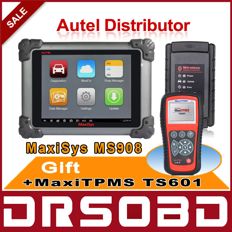 AUTEL MAXISYS MS908 WIFI / Bluetooth Wireless Car Diagnostic Scan Tool Free Online Update + Multi-Language + Free TPMS TS601(China (Mainland))