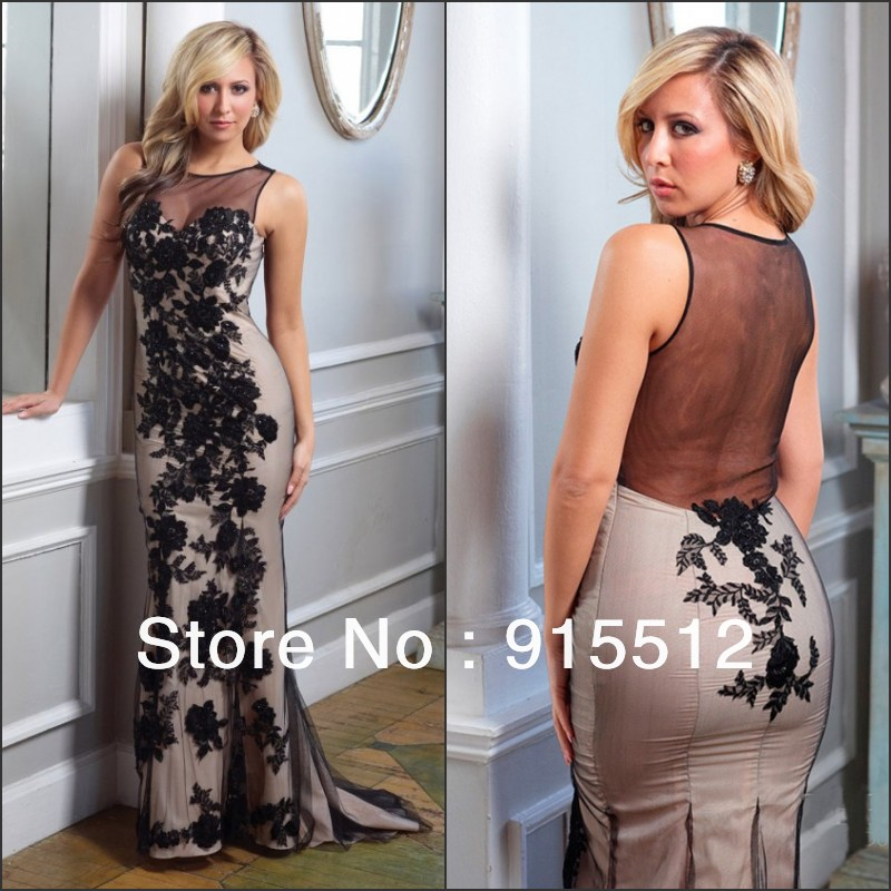 Sexy Designer Mermaid Jewel Neck Black Appliques Full Length Tulle Latest Party Wear Dresses for Girls(China (Mainland))