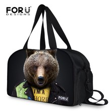Fashion Brand Women's Handbag Cute Russia Bear Printing Travel Luggage Bag Sac De Sport Shoulder Handbag Large Duffle Tote(China (Mainland))