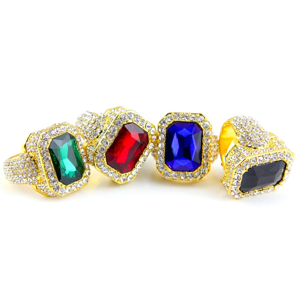 Iced Out Rhinestone Ring Men 18K Yellow Gold/ Platinum Plated Micro Pave Full CZ Diamond Ring Male Hip hop Bling Jewelry(China (Mainland))