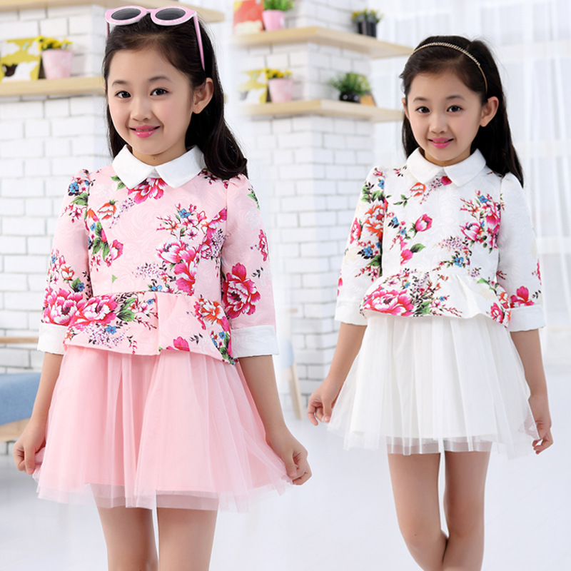 Summer spring autumn kids wear girls dress cotton flower lace party princess dresses Chinese Style children's clothing 4-14Y(China (Mainland))