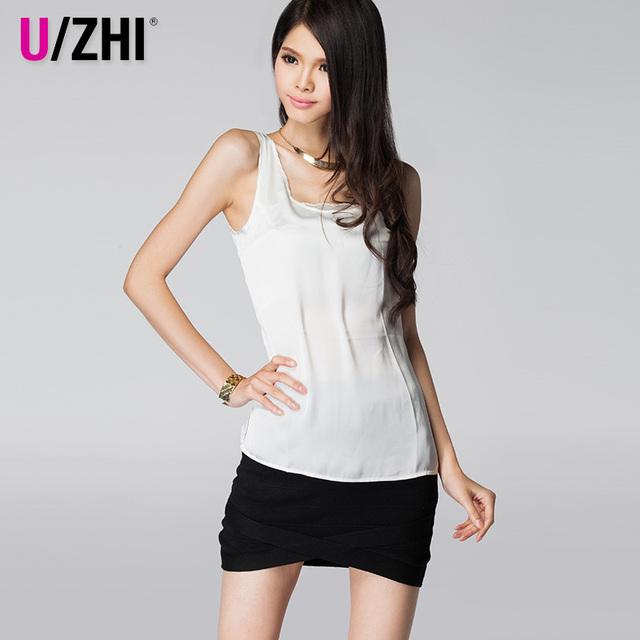 Uzhi sericiculture faux silk fashion brief short-sleeve basic T-shirt sleeveless small vest spaghetti strap plus size