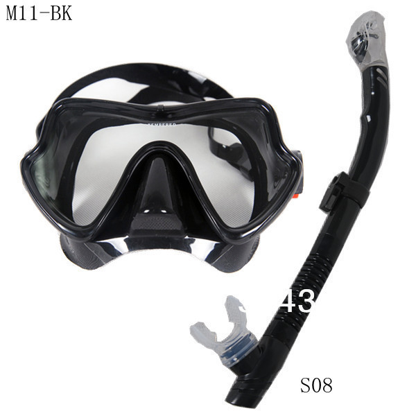 2013NEW Scuba Diving Snorkeling Silicone Mask Set(Black)M11BK-S08