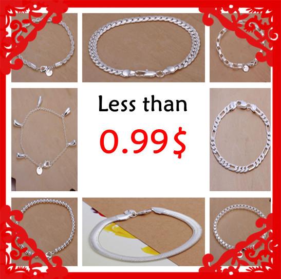 SALE polular Losing money promotion Fashion silver bracelets 0.99$ 10 styles Factory Wholesale limited stock hot jewelry(China (Mainland))