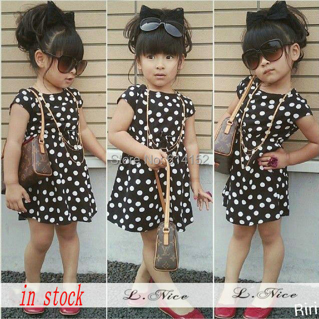 2015 summer spring New Baby Girls Dress Children short sleeve Dot dresses kids girl clothing baby girls clothes 10 style - Hongfei Garment Co., Ltd. store