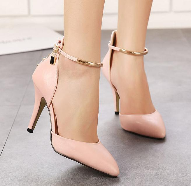 Гаджет  Summer Style 2015 New Brand High Heels Pointed Toe Pumps OL Party Shoes Women Ankle Strap Women Shoes Black/White/Pink 147 None Обувь