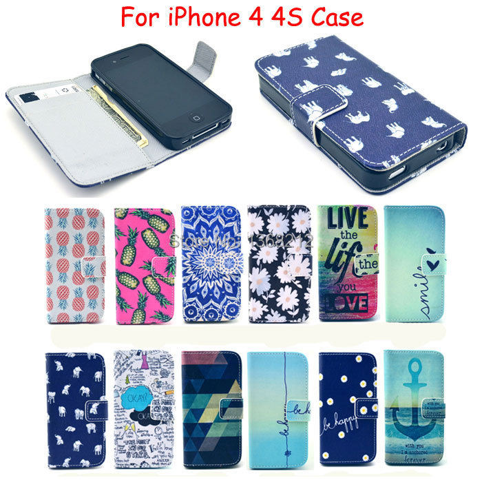 1PCS Luxury Painting PU Leather Case For iPhone4 iPhone 4 4S Flower Pineapple & Elephants Fashion Flip Wallet Stand Cover Cases(China (Mainland))