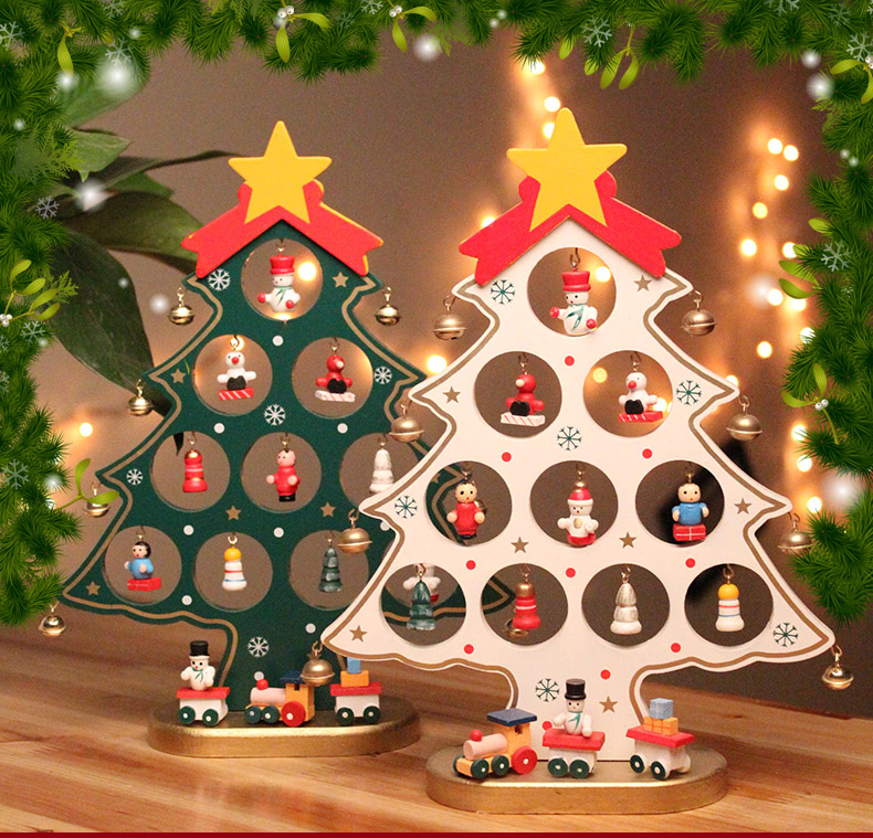 Mini wooden christmas tree with small ornament snowman bell christmas