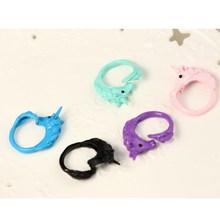 1pc 2015 Korean Lovely Candy Color Unicorn Finger Ring Enamel Horse Party Rings For Women Fashion