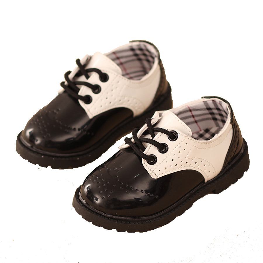 New Bullock Classic Children's Shoes Fashion Black White Martin Boots Boys Girls Spring Autumn Kids Leather Shoes School uniform(China (Mainland))