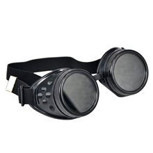 NEW Cyber Goggles Steampunk Welding Goth Cosplay Vintage Goggles Rustic-Black & Black