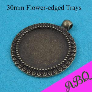 30mm Sun Flower Brass Pendant Settings, 30mm Cameo Settings , Antique Bronze Bezel Pendant Trays(China (Mainland))