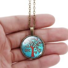 antique Bronze chain hope life tree chock necklace glass cabochon necklace pendant necklace art picture women