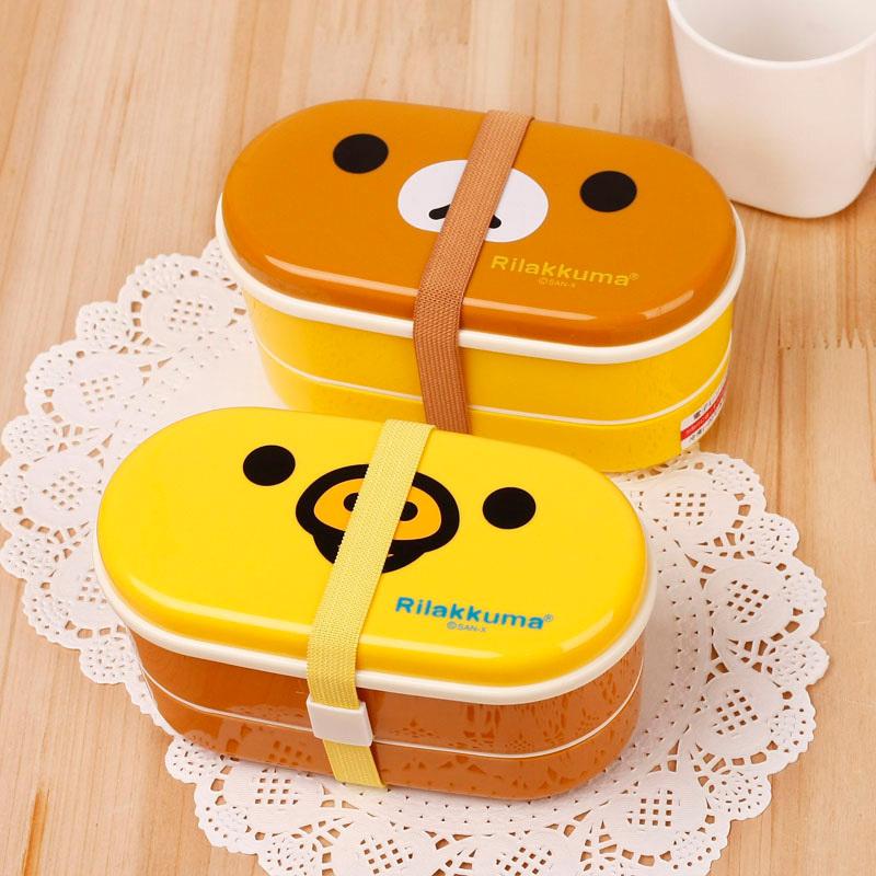 1 set kids Brown/Yellow Cute Rilakkuma Bento Box Double Layer Plastic cartoon Lunch Box With Chopsticks Dinnerware Sets NB01(China (Mainland))