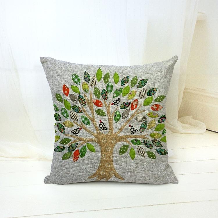 Cuscini Decorativi 18 X 18 Tree Owl Bird Decorative Throw Pillows Kussens Home Decor Cushions Coussin Capa Almofada Scandinavian