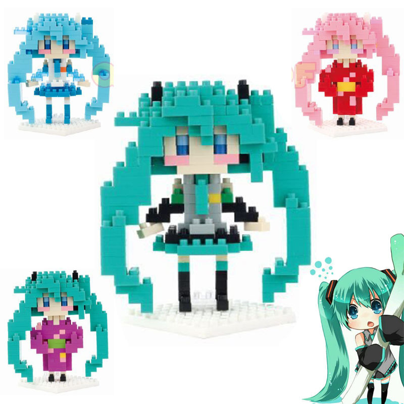 Sexy Vocaloid Hatsune Miku Action Figures Anime DIY model blocks toy Present Gift for girl(China (Mainland))