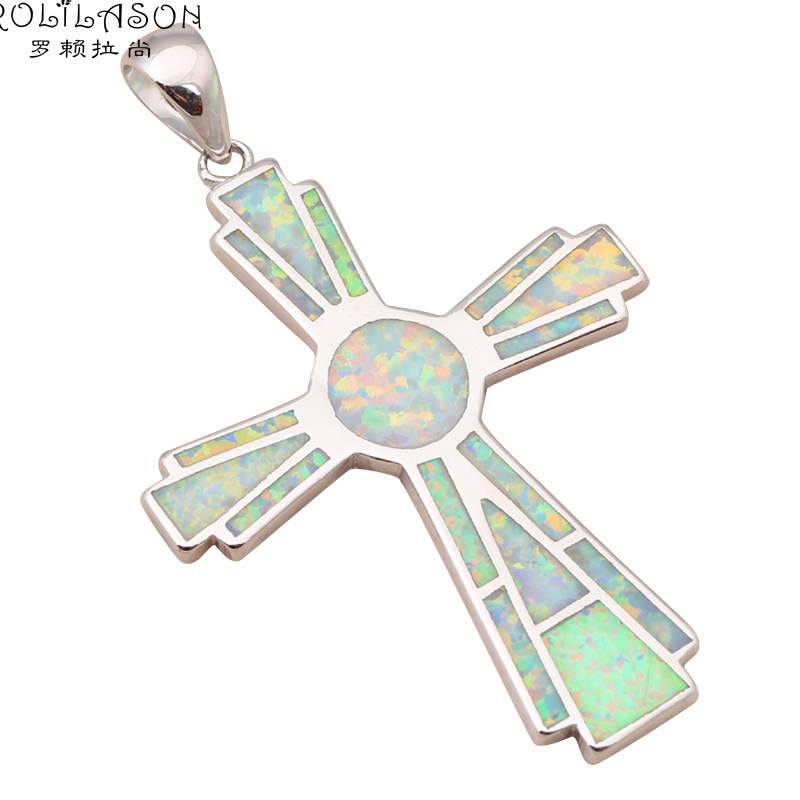 Fine jewelry for women cross design White Fire Opal Silver Stamped charm Pendant Health Fashion jewelry OP525(China (Mainland))