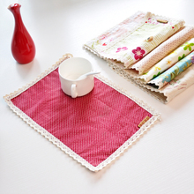 Linen Cotton Placemat with lace double layer Linen Cotton Fabric Coasters insulation mat fancy 20*30 cm  6 p pcs Free shipping(China (Mainland))