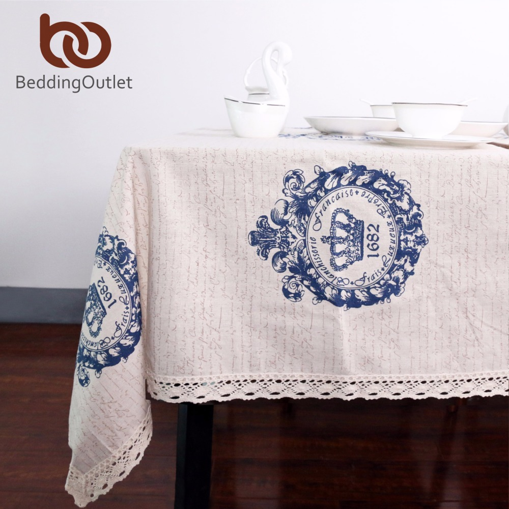 BeddingOutlet Crown Tablecloth Dinner Table Cloth Cotton Linen Rectangular Lacy Table Cover Macrame Home Decor Europe Style(China (Mainland))